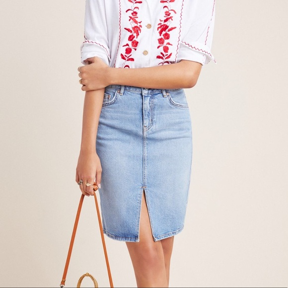 Anthropologie Dresses & Skirts - {Pilcro} Classic Denim Pencil Skirt Size 14 NWT